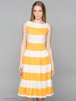 Платье GANT. Цвет: молочный, желтый