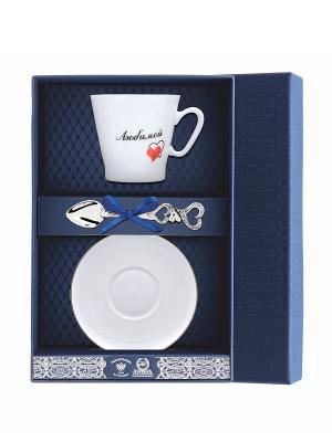 Набор кофейный Черный кофе-Сердечки любимой 3 предмета + футляр АргентА. Цвет: серебристый