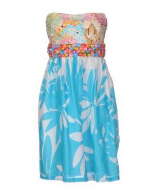 Короткое платье EMAMÒ. Цвет: бирюзовый