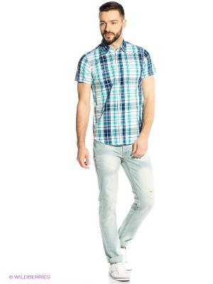 Рубашка Oodji. Цвет: голубой, белый, синий