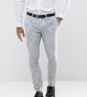 Noose & Monkey Супероблегающие брюки с бархатистой отделкой Wedding. Цвет: серый
