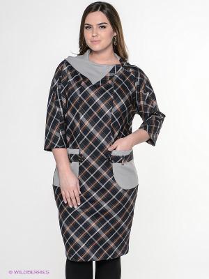 Платье Amelia Lux. Цвет: черный, серый, белый