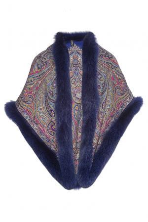 Шаль из шерсти с отделкой меха песца 143976 Kaminsky. Цвет: синий