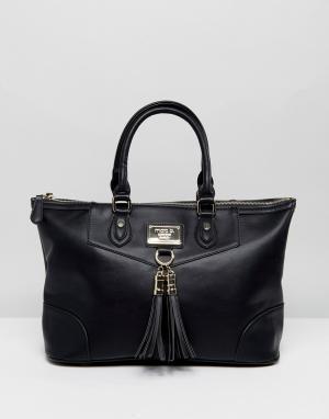 Marc B Большая сумка с ручками и съемным ремешком на плечо. Цвет: черный