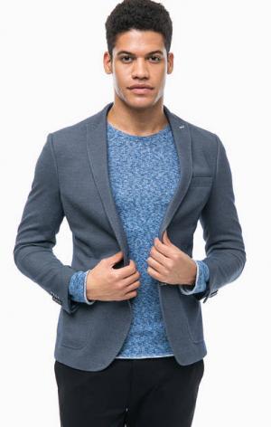 Синий пиджак с накладными карманами Cinque. Цвет: синий