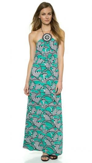 Макси-платье с медальоном Tbags Los Angeles. Цвет: принт аква