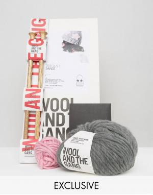 Wool and the Gang Набор для вязания шапки-бини &. Цвет: серый