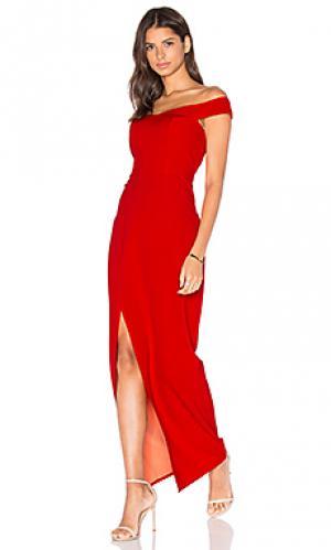 Макси платье с открытыми плечами go your own way Lumier. Цвет: красный