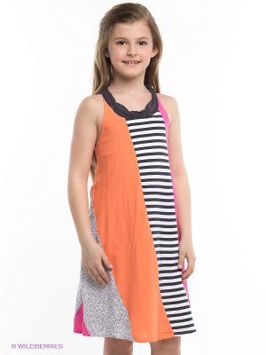 Платье Deux par. Цвет: темно-серый, оранжевый, розовый, белый