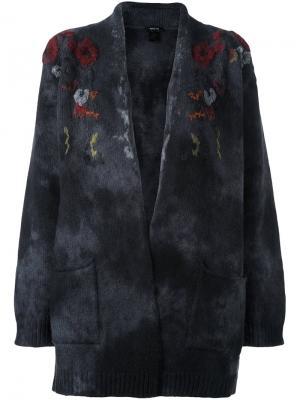 Кардиган с цветочной вышивкой Avant Toi. Цвет: серый