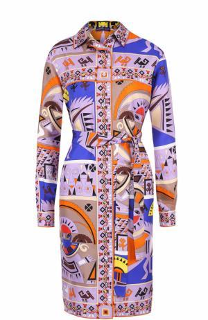 Шелковое платье-рубашка с ярким принтом Emilio Pucci. Цвет: лиловый