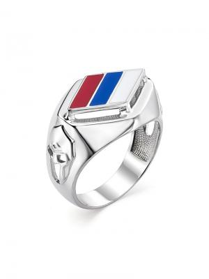 Мужское кольцо - печатка Патриотичное Флаг России KU&KU. Цвет: синий, белый, красный