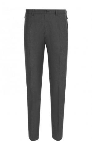 Хлопковые брюки прямого кроя с лампасами Dolce & Gabbana. Цвет: серый