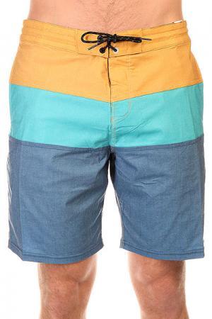 Шорты пляжные  Tribong Lo Tides 18 Indigo Billabong. Цвет: синий,голубой,коричневый