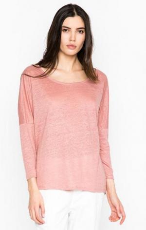 Свободный розовый джемпер из льна DRYKORN. Цвет: розовый