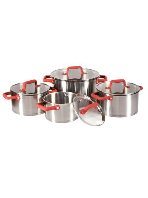 Набор кастрюль из нержавеющей стали с цветными ручками (красный) 8шт AMBITION. Цвет: серебристый