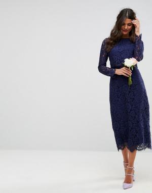 ASOS Кружевное платье-футляр миди с длинными рукавами WEDDING. Цвет: темно-синий