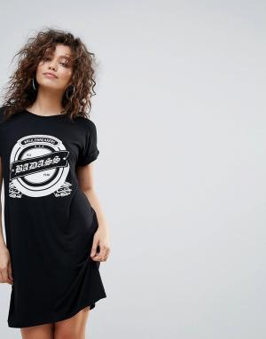 Lasula Платье-футболка Badass Rock. Цвет: черный