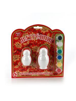 Набор-раскраска Multiart 2 фигурки (матрешки), кисточка, краски Играем вместе. Цвет: белый, красный