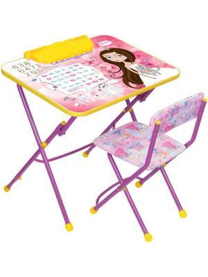 Комплект мебели (стол-парта+пенал+стул.мягк) Nika. Цвет: розовый
