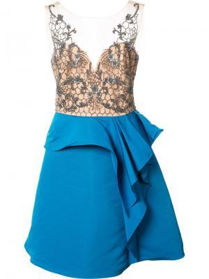 Платье с вышивкой Marchesa Notte. Цвет: синий