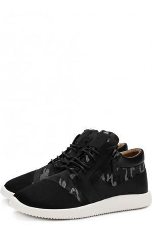 Текстильные кроссовки Runner на шнуровке Giuseppe Zanotti Design. Цвет: черный