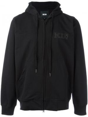Толстовка на молнии с капюшоном и карманами KTZ. Цвет: чёрный