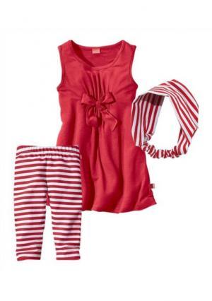 Комплект: платье, легинсы и лента для волос KIDOKI. Цвет: красный в полоску