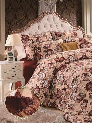 Комплект постельного белья, Леона, 1.5 спальный KAZANOV.A.. Цвет: бордовый