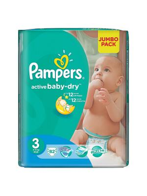 Подгузники Active Baby-Dry 5-9 кг, 3 размер, 82 шт. Pampers. Цвет: зеленый