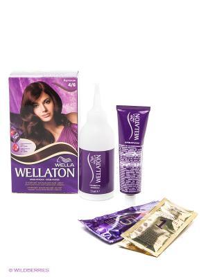Крем-краска для волос 4/6 Бургунди WELLATON. Цвет: коричневый