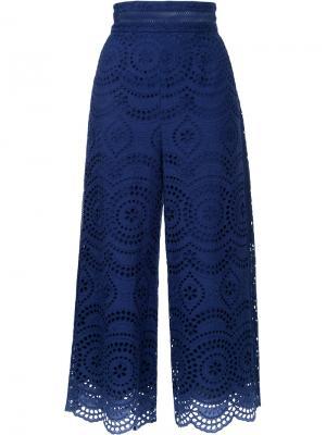Укороченные брюки с перфорацией Zimmermann. Цвет: синий