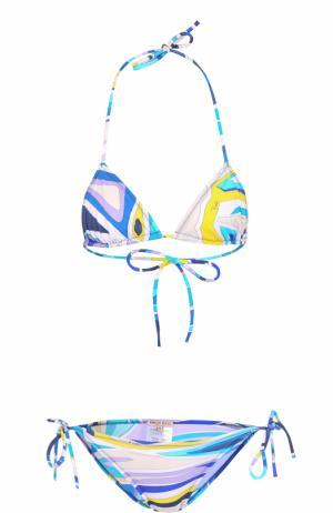 Раздельный купальник с треугольным бра и ярким принтом Emilio Pucci. Цвет: синий