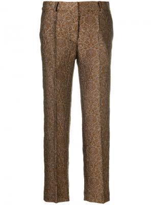 Укороченные брюки с цветочным принтом Christian Wijnants. Цвет: коричневый