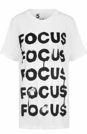 Хлопковая футболка с контрастной надписью 5PREVIEW. Цвет: белый