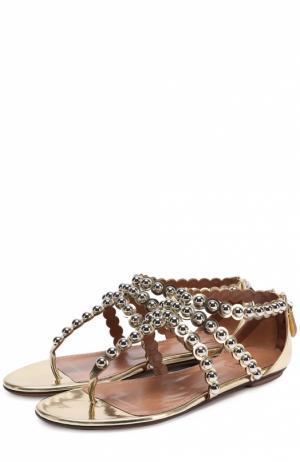 Сандалии из металлизированной кожи с декором Alaia. Цвет: золотой