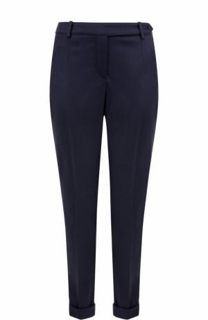 Облегающие кашемировые брюки с отворотами Loro Piana. Цвет: темно-синий
