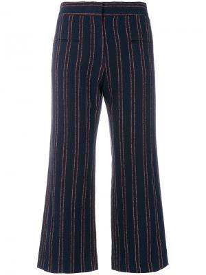 Укороченные полосатые брюки Carven. Цвет: синий