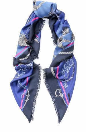 Шелковый платок с принтом Franco Ferrari. Цвет: голубой