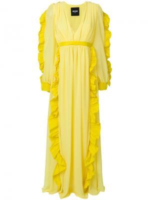 Длинное платье  с рюшами MSGM. Цвет: жёлтый и оранжевый