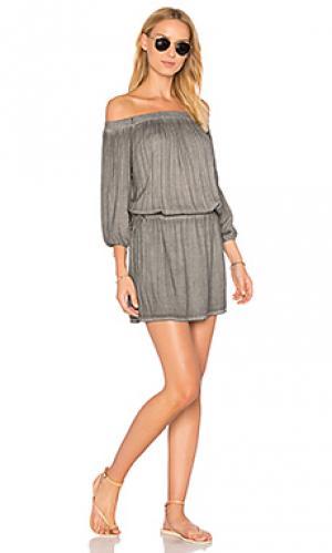Платье с открытыми плечами aletta YFB CLOTHING. Цвет: серый