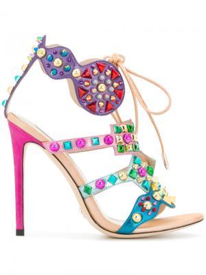 Декорированные босоножки Gianni Renzi. Цвет: многоцветный