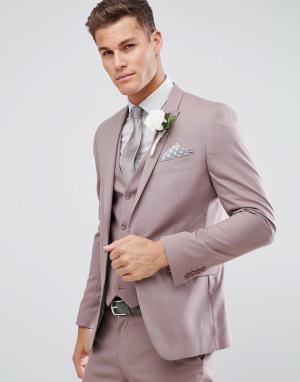 ASOS Бежевый приталенный пиджак Wedding. Цвет: фиолетовый