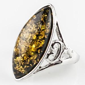 Перстень Люсия им. янтаря, арт. кп-4640 Бусики-Колечки. Цвет: желтый