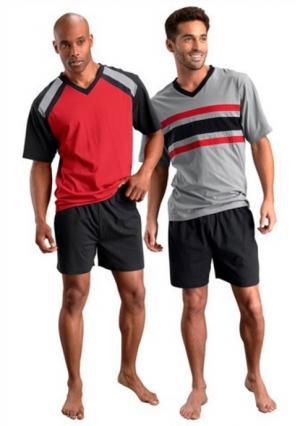 Пижама с шортами, 2 штуки LE JOGGER. Цвет: красный/черный+серый/черный