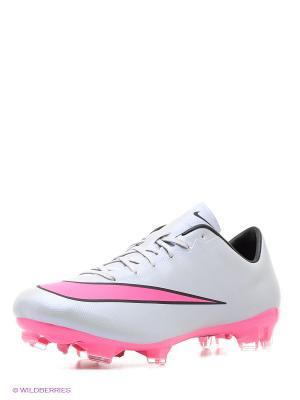 Бутсы MERCURIAL VELOCE II FG Nike. Цвет: серо-голубой, розовый