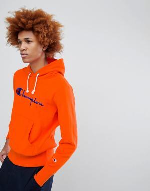 Champion Худи оранжевого цвета с крупным логотипом. Цвет: оранжевый