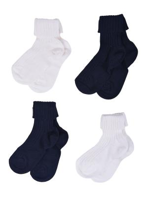 Носки Детские,комплект 4шт Malerba. Цвет: синий, молочный