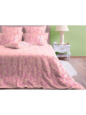 Двуспальное постельное белье ХЛОПКОВЫЙ КРАЙ. Поплин. Край. Цвет: бледно-розовый
