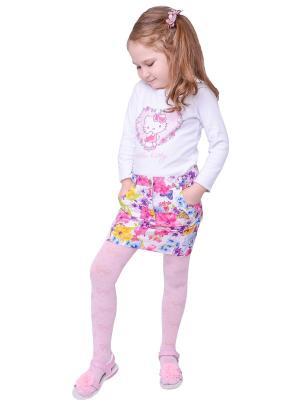Колготки детские ажурные бантики Flammber. Цвет: розовый